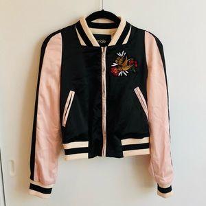 Maje Pink & Black Bomber Jacket w/ Bird Embroidery